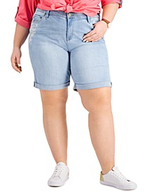 Plus Size Cuffed Embroidered Denim Shorts