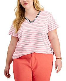 Plus Size Striped V-Neck T-Shirt
