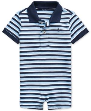 Polo Ralph Lauren Jumpsuits RALPH LAUREN BABY BOYS BEAR-PRINT INTERLOCK POLO SHORTALL