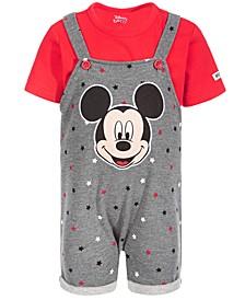 Baby Boys 2-Pc. Mickey Mouse Shortall & T-Shirt Set