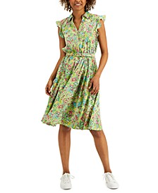 Petite Flutter Sleeve Belted Dress, Created for Macy's