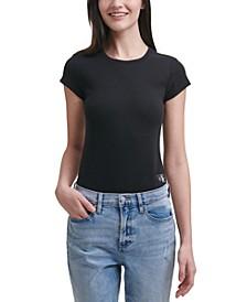 Short-Sleeve Logo-Patch Bodysuit