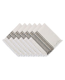 """Design Import Fringed Stripe Table Toppers, 20"""" x 20"""", Set of 6"""