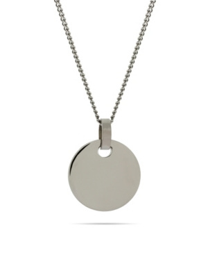 Men's Small Stainless Steel Round Tag on Curb Chain Necklace