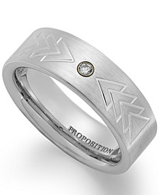 Cobalt Triangle Motif and Diamond Accent Wedding Band