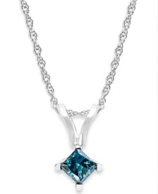 10k White Gold Blue Diamond Pendant Necklace (1/4 ct. t.w.)