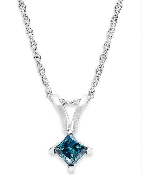 Macy's 10k White Gold Blue Diamond Pendant Necklace (1/4 ct. t.w.)