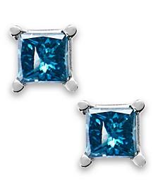 10k White Gold Blue Diamond Stud Earrings (1/6 ct. t.w.)
