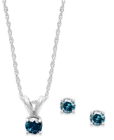 10k White Gold Blue Diamond Necklace and Earring Set (1/5 ct. t.w.)