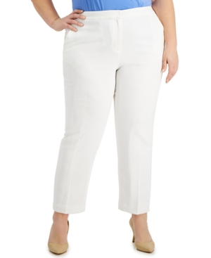 Kasper Plus Size Textured Pants In Lily White