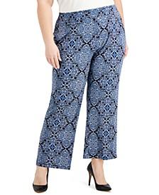 Plus Size Paisley-Print Pull-On Pants