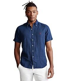 Men's Short-Sleeve Linen Button-Up