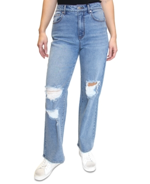 Juniors' Distressed Straight-Leg Jeans