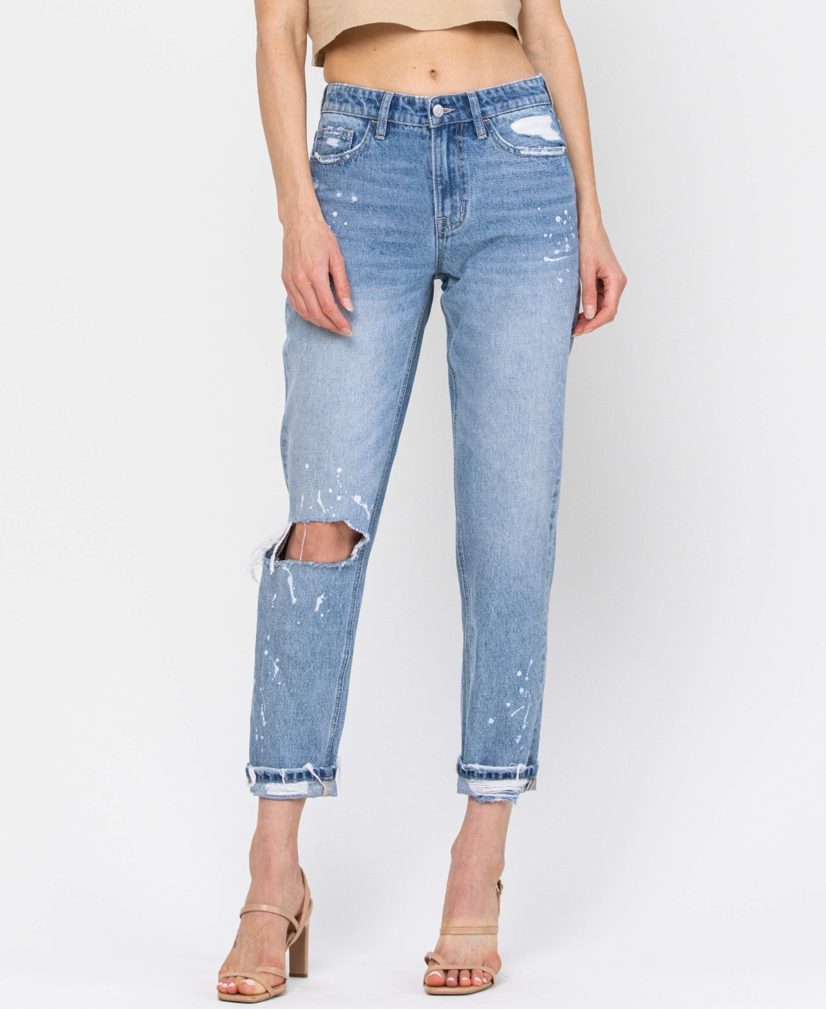 Women's Distressed Boyfriend Crop with Paint Splatter Detail and Single Cuff Jeans