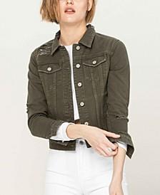 Women's Distressed Olive Classic Fit Denim Jacket