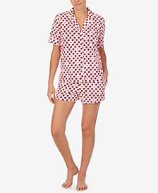Printed Notched-Collar Top & Shorts Pajama Set