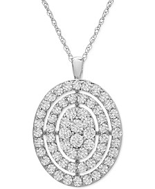 "Diamond Oval Cluster 18"" Pendant Necklace (1 ct. t.w.) in 14k Gold or 14k White Gold"