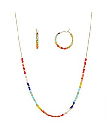 Gold Flash Plated Beaded Necklace and Hoop Set