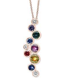 "EFFY® Multi-Gemstone (1-1/2 ct. t.w.) & Diamond (1/6 ct. t.w.) Scattered Bezel 18"" Pendant Necklace in 14k Rose Gold"