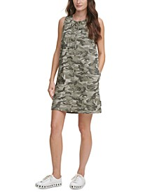 Juniors' Camo-Print Tie-Neck Dress
