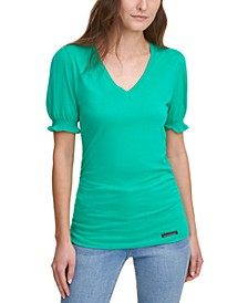 Puff-Sleeve V-Neck Top