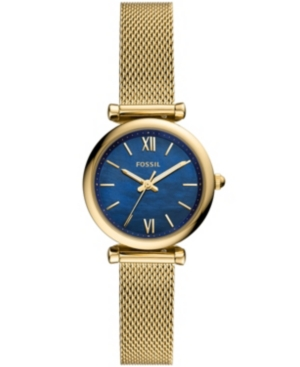 Fossil WOMEN'S CARLIE MINI TWO-TONE GOLD-TONE MESH BRACELET WATCH 28MM