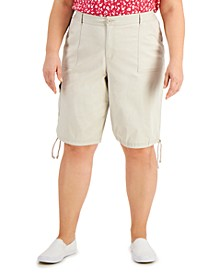 Plus Size Drawstring-Hem Shorts, Created for Macy's