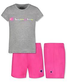 Baby Girls 2-Pc. Classic Script T-Shirt & Mesh Shorts Set