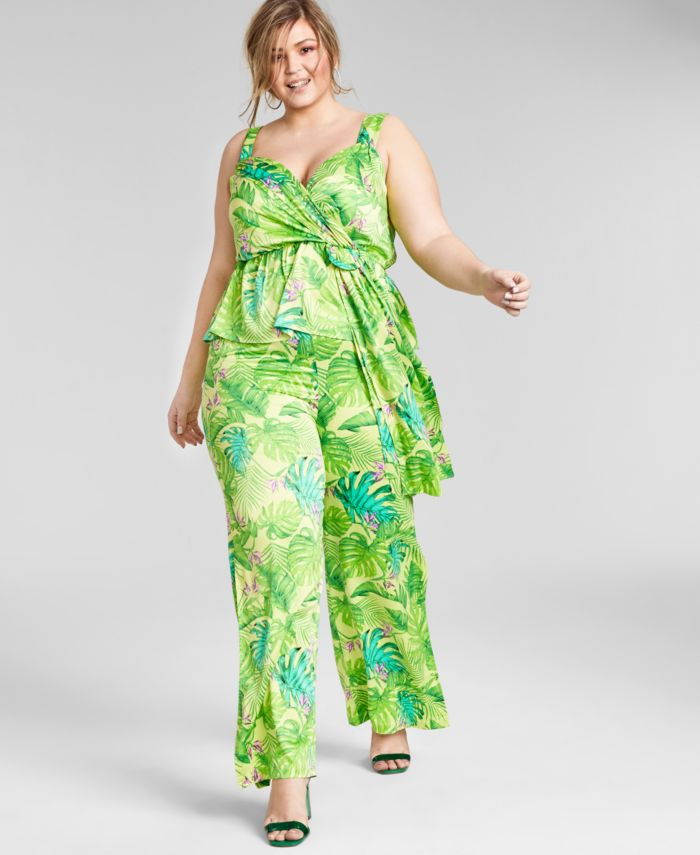 Nina Parker Trendy Plus Size Sleeveless Peplum Top, Created for Macy's & Reviews - Tops - Plus Sizes - Macy's