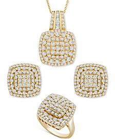 Diamond Cushion Cluster Pendant, Earrings , Ring Collection in 14k Gold