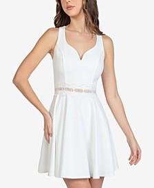 Juniors' Lace-Trim A-Line Dress