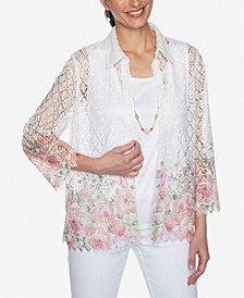 Plus Size Springtime in Paris Border Floral Lace Two for One Top