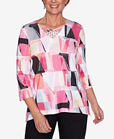 Plus Size Clean Getaway Stained Glass Print Top