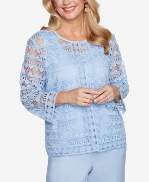 Alfred Dunner Clothing PLUS SIZE FRENCH BISTRO SOLID LACE TWO FOR ONE TOP