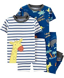 Baby Boys Giraffe Snug Fit Pajamas, 4 Piece