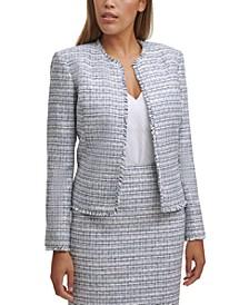 Petite Open-Front Tweed Jacket