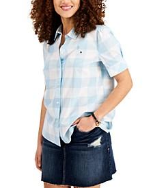 Plaid Puff-Sleeve Cotton Shirt