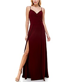 Juniors' Double High-Slit Gown