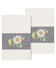 Daisy Embellished Hand Towel Set, 2 Piece