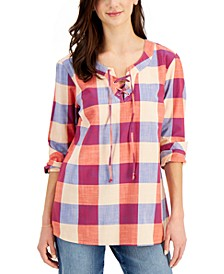 Plus Size Cotton Lace-Up Top, Created for Macy's