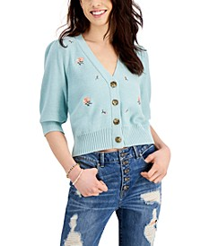 Juniors' Embroidered Puff-Sleeve Cardigan