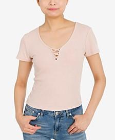 Juniors' Cross-Front T-Shirt