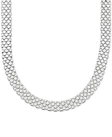 "Polished Satin Mesh Link 18"" Statement Necklace in Sterling Silver"