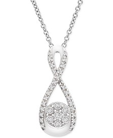 Diamond Cluster Infinity Pendant Necklace (1/10 ct. t.w.) in Sterling Silver
