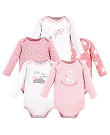 Baby Girls Cotton Long-Sleeve Bodysuits, 5 Pack