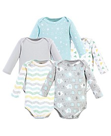 Baby Girls and Boys Cotton Long-Sleeve Bodysuits, 5 Pack