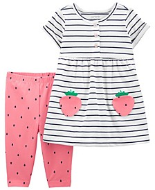 Baby Girls Strawberry Dress and Legging Set, 2 Pieces