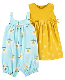 Baby Girls Romper and Dress Set, 2 Pieces