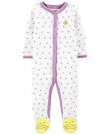 Baby Girls Bee Snap-Up Terry Sleep and Play One Piece