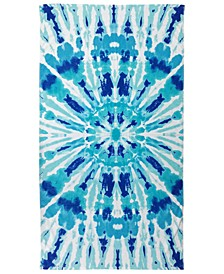 Radiant Tie-Dyed Velour Beach Towel, Created for Macy's